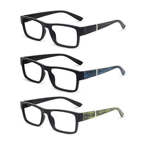 (OCCI CHIARI 3 Pack Men Women Fashion Rectangular Reading Glasses for Reader 1.0 1.25 1.5 1.75 2.0 2.5 3.0)