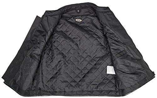 Textil Bikerweste in schwarz, Reißverschluss vorne, beiderseitig drei verstellbare Klettverschlüsse
