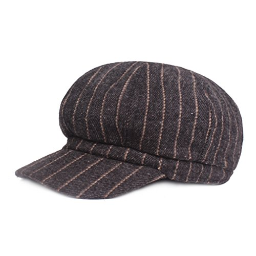 RICHTOER Women Vintage Berets Stripe Octagonal Like Cashmere Hat Man Newsboy Cap (Black)