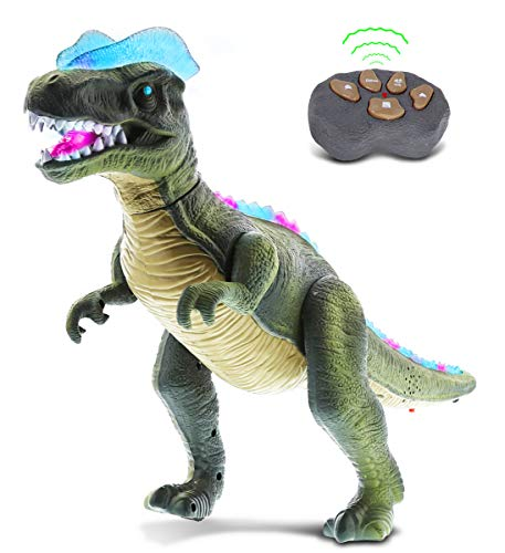Mozlly Remote Control Walking RC Dino with Realistic Move Walk Roar Light Up and Sound - Action Figure Tyrannosaurus T-Rex Dinosaur Robot Toy for Boys, Girls and Kids - Green or Brown from Mozlly