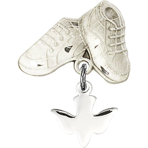 Sterling Silver Baby Badge with Holy Spirit Charm and Baby Boots Pin 7/8 X 5/8 inches by Unknown