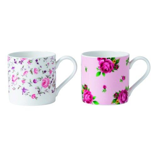 (Royal Albert Rose Confetti/New Country Rose Mugs, Pink, Set of 2 )