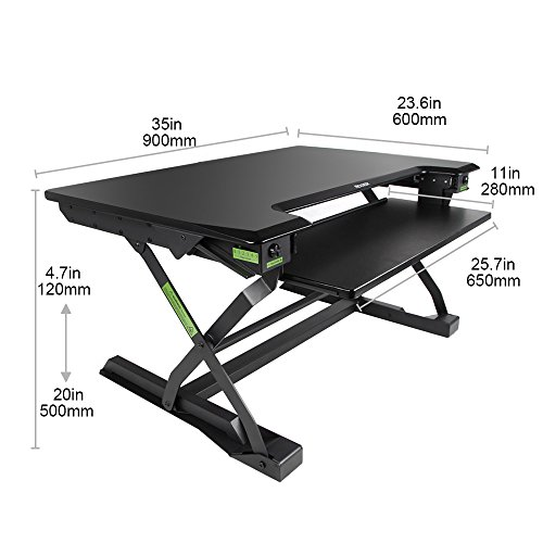 minicute Height Adjustable Standing Computer Desk Ergonomic Sit to Stand fits Dual Monitor Spring Riser 32'' Workstation Dual Monitor Desktop Lifter With Keyboard Tray For Office home- Black by MINICUTE (Image #7)