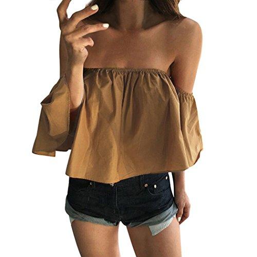 MIOIM® Las Mujeres Tops Camisa Sin Tirantes de Playa del Verano del Estilo Bohemio con Satén de Seda el Color del Azul y Rojo (XL-L-M-S) Amarillo