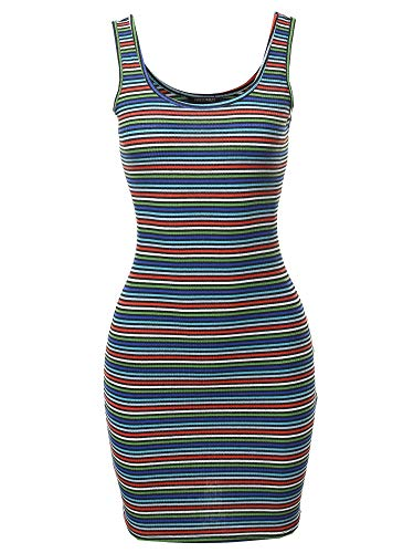 Awesome21 Stripe Print Scoop Neck Sleeveless Ribbed Body-Con Mini Dress Black M