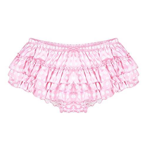 ACSUSS Men's Satin Frilly Thong Sissy Crossdress Bloomer Ruffled Skirted Panties Type B Pink XX-Large(Waist 33.0