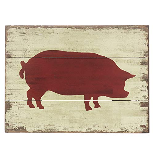 (Barnyard Designs Red Pig Silhouette Retro Vintage Wooden Plaque Bar Sign Country Home Decor 15.75