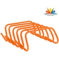 CREW FOR SPORTS Agility Speed Training Hurdle (Pack of 6) with Velcro Hurdle Carrier 15INCH