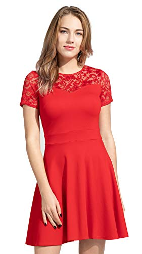 Sylvestidoso Women's A-Line Pleated Short Sleeve Little Red Cocktail Party Dress with Floral Lace (XS, Red) (Lace Dresses Red 2015 Prom)