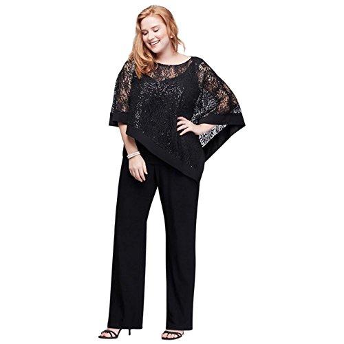 David's Bridal Sequin Lace Plus Size Pantsuit With Sheer Capelet Style 8998WD, Black, (Capelet Suit)