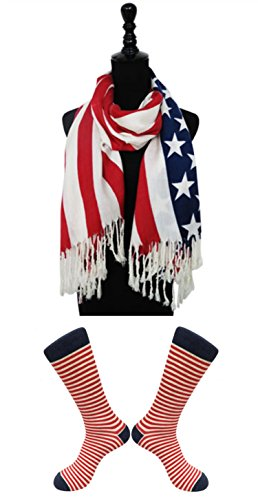 2 Pack New Lightweight Wide Fashion Patriotic American Flag Scarf & Sock Set Clearance Sale Christmas Women Mom Unique Last Minute Clearance Sale Christmas Gift Idea