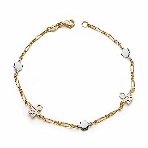 Bracelet 18k gold 19cm bicolor. enfant [AA1700GR] - personnalisable - ENREGISTREMENT inclus dans le prix