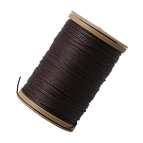 BQLZR 0.55mm Dark Brown Round Ramie Waxed Linen Sewing Cord Wax String Stitching Thread 70 Meters for Leather Craft DIY Handmade