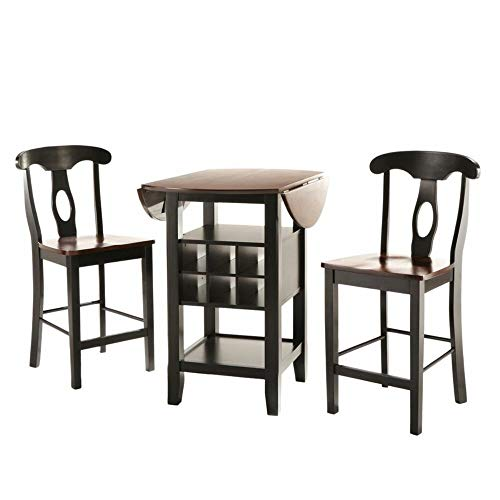 Charlton Home 3 Piece Asian Rubberwood Counter Height Pub Table Set, Wine Rack Included + Free Basic Design Concepts Expert Guide