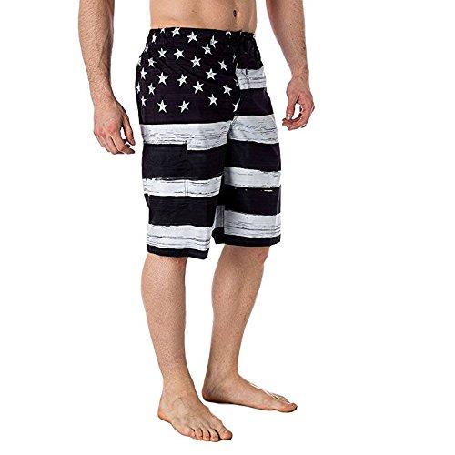 Matasleno Men's Printed Swim Trunks Button Down Short Sleeve Hawaiian Shirts Black ()