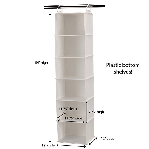 Household Essentials 311312 Hanging Closet Organizer | 6-Shelves | Natural Canvas
