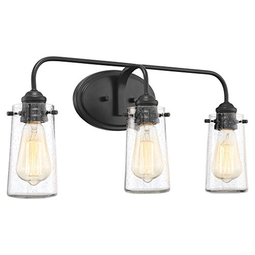 "Black Finish Bathroom Lighting: Kira Home Rayne 22.5"" Modern 3-Light Vanity/Bathroom Light"