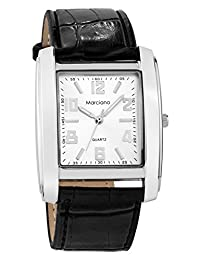 Marciano Men's | Elegant Black Classic PU-Leather Watch with Sleek Silver Dial | MA1039