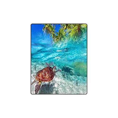 InterestPrint Green Turtle Swimming at Tropical Island of Caribbean Sea Fleece Luxury Blanket Throw Lightweight Cozy Plush Blanket 40