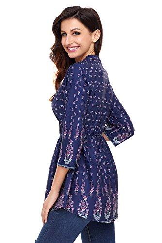 Neuf Paon Floral bleu marine en mousseline de soie boutonné broches Tuck manches longues Pull Chemisier de soirée pour femme Tenue décontractée d'été Taille UK 8EU 36