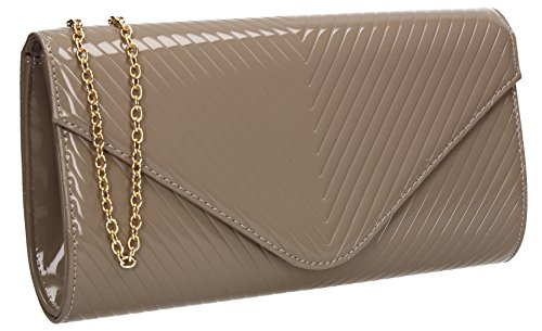 V Wedding Ladies Stitch Prom Grey Bag Clutch Patent Leather SWANKYSWANS Womens Vanesa Party Envelope d4qwd8