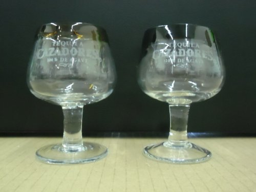 Set of 2 Cazadores Tequila 100% De Agave Artisan Snifter Double Shot Glasses