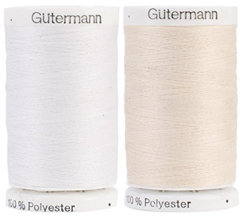 Egg Shell & Nu-White 2-Pack Bundle of Gutermann Sew-All Thread - 547 Yards each by Gutermann