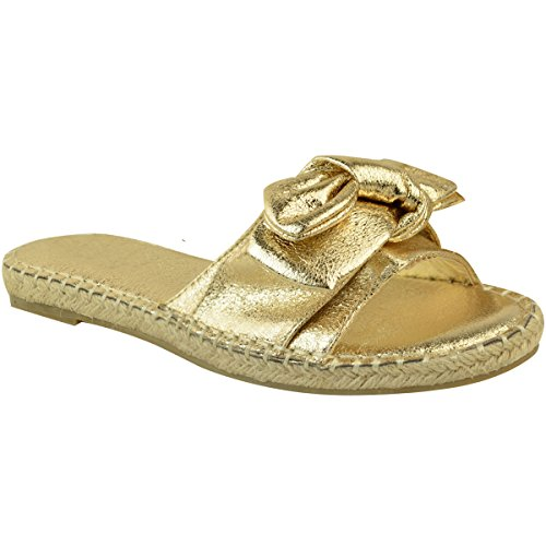 Gold Damen On Womens Heelberry® Slip Schuhe Flats Slippers Sliders Bow Metallic Espadrille Bequeme Crinkle Slides p71wRqS