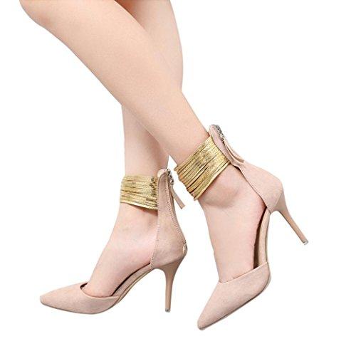 Sandales Fheaven Femmes Couleur Unie Paillette Chaussures Pointues Chaussures À Talons Rose