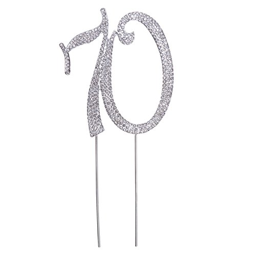 OULII Birthday Number Cake Topper Anniversary Crystal Rhinestones Decorative Cupcake Topper for 70th Birthday Party Supplies ()