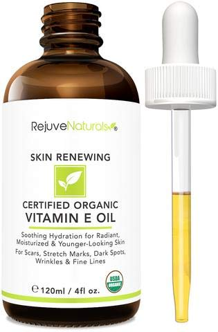 Vitamin E Oil - 100% All Natural & USDA Organic (LARGE 4oz Bottle) Visibly Reduce the Look of Scars, Stretch Marks, Dark Spots & Wrinkles for Hydrated & Youthful Skin. Face & Body Moisturizer