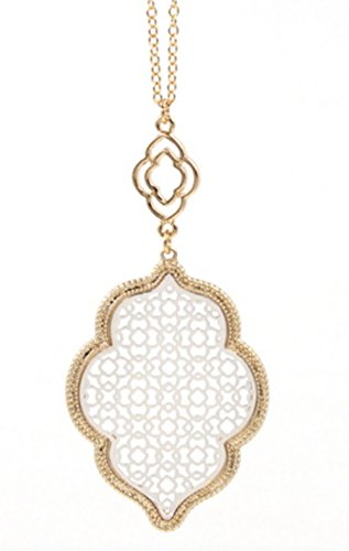 StylesILove Womens Trendy Two-Tone Cut Off Filigree Quatrefoil Long Chain Pendant Necklace Dangle Earring (Gold Border+Silver - Necklace)