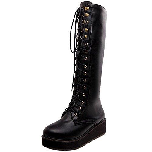 Black Haut Genou Femmes Plateforme Motard Coolcept Bottes Compense Talon Lacets qSwZnz4