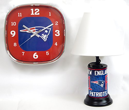 New England Patriots home decor 2 pieces set, wall Clock and #1 fan table lamp.