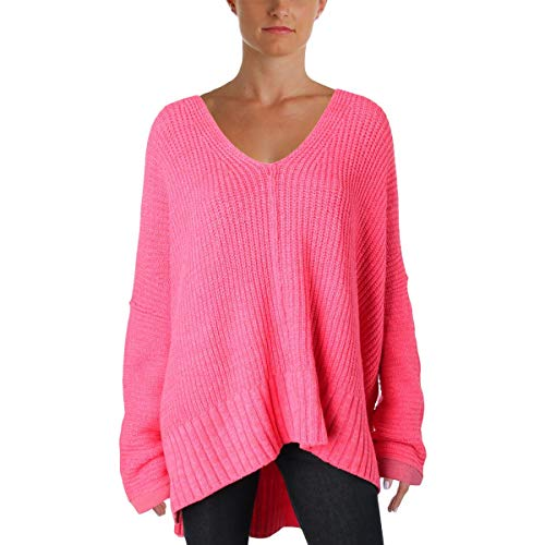 (Free People Womens Take Over Me Oversized V-Neck Pullover Sweater Pink M/L)