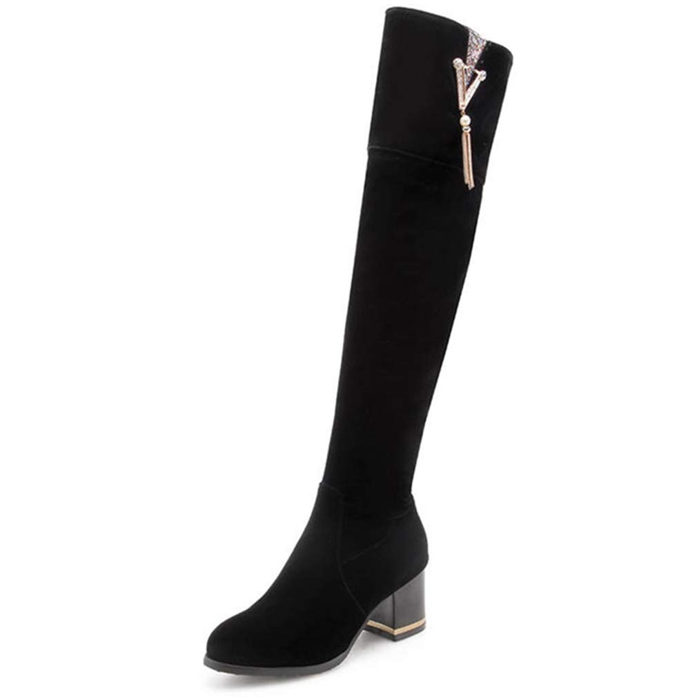 - T-JULY Winter Women Over The Knee Boots Casual Round Toe Square Heels Long shoes