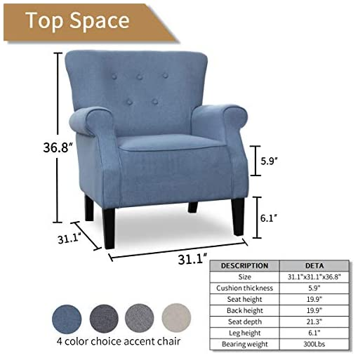 Farmhouse Accent Chairs Top Space Accent Chair Sofa Mid Century Upholstered Roy Arm Single Sofa Modern Comfy Furniture for Living Room,Bedroom… farmhouse accent chairs
