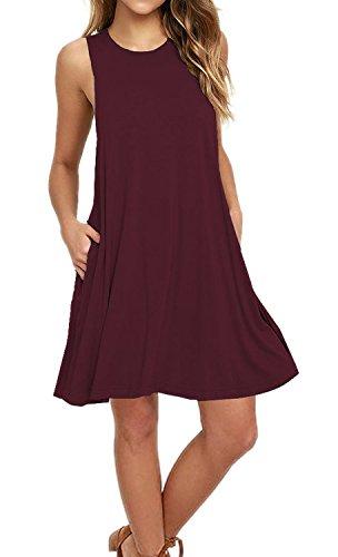 Price comparison product image AUSELILY Women's Casual Plain Simple Pocket T-shirt Loose Dress Tank Sundress (M,  Wine Red)