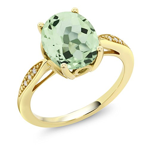 14K Yellow Gold 2.14 Ct Oval Green Amethyst and Diamond Ring (Available in size 5, 6, 7, 8, 9) (Amethyst Oval Gold)