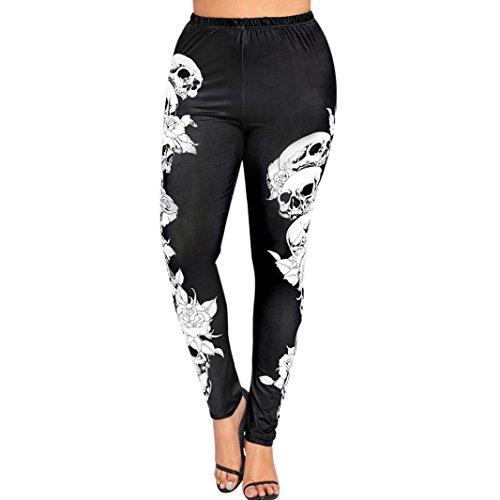 Mikey Store Clearance Womens High Waist Yoga Sport Pants Plus Size Skulls Leggings (X-Large, Black)