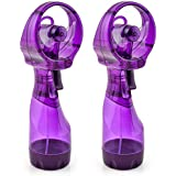 O2COOL 2 Pack Deluxe Misting Handheld Portable Misting Fan, Purple