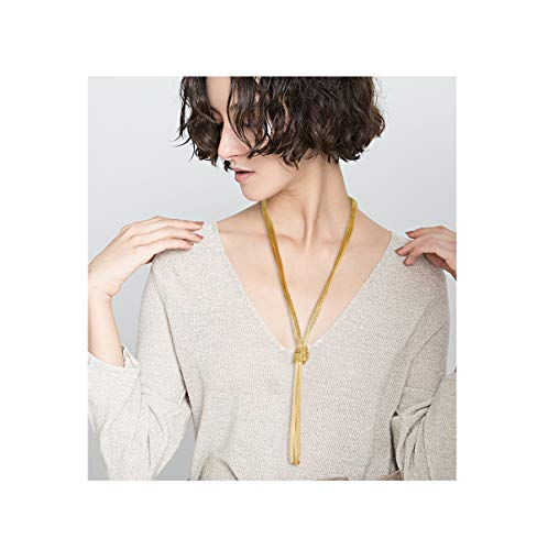 JYJ Long Necklaces for Women Knotted Necklace Tassel Pendant Necklace Statement Y Chain Necklace (Gold)