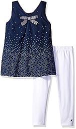 Nautica Toddler Girls\' Printed Tunic with Capri Legging Set, Navy, 2T