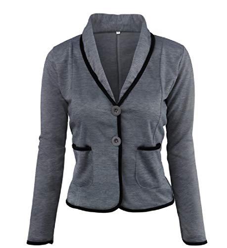 (Abetteric Women Short Blazer Slant Pocket Fitted Solid-Colored Outwear Dark Grey XL)