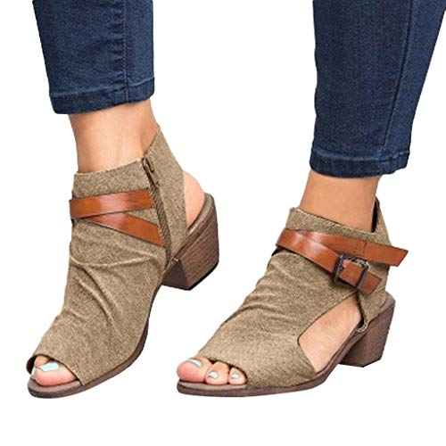 Fainosmny Womens Shoes Wedges Sandals Zipper Ankle Sandals Square Heel Water Shoes Fashion Breathable Peep Toe Shoes Khaki ()