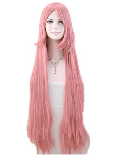 """Cool2day Anime Costume 39"""" Long Curly Pink Hair Cosplay Party Wig JF73"""