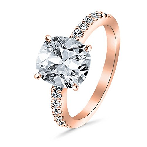 1.25 Ctw 14K Rose Gold Classic Side Stone Diamond Engagement Ring Cushion Cut (1 Ct J Color VS2 Clarity Center Stone)