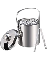 Ice Buckets with Stainless Steel Ice Tongs,Double Wall Ice Bucket with Lid,Silver Ice Wine Chiller for Bar Paties,Ice Buckets for Camping