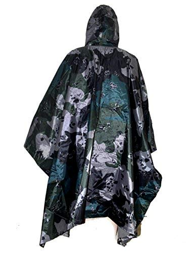 ELLEN Multifunction Waterproof Raincoat Military Camouflage Poncho for Camping Tent Rain Cover Outdoor (American Flower Camouflage)