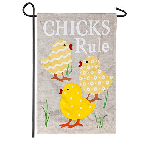 (Evergreen Chicks Rule Burlap Garden Flag)